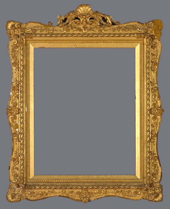Late 19th C. American gold leaf frame in the Rococo style with crest.