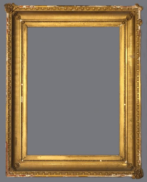 Mid to late 19th C. American gold leaf and applied ornament fluted cove frame