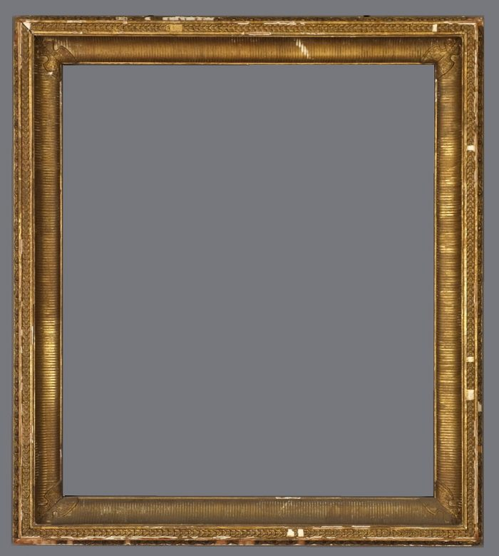 Mid 19th C. American fluted cove frame with applied ornament.