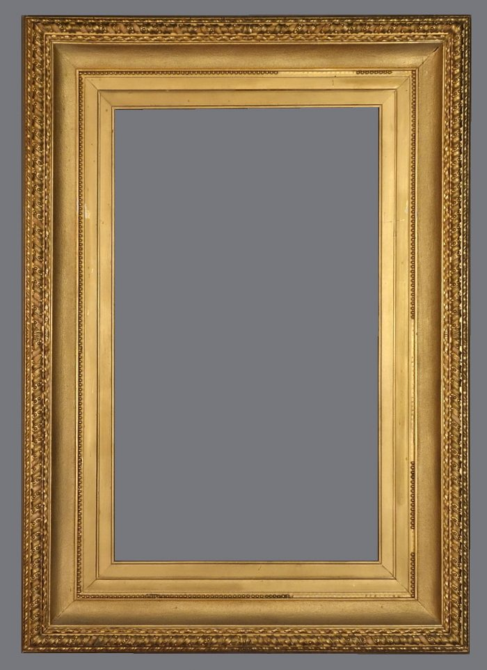 Late 19th C. Italian gold leaf cove frame with carved and applied ornament.