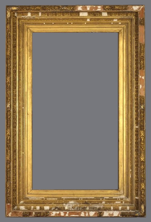 Late 19th C. American gold leaf and applied ornament frame with multiple tiers of ornament.
