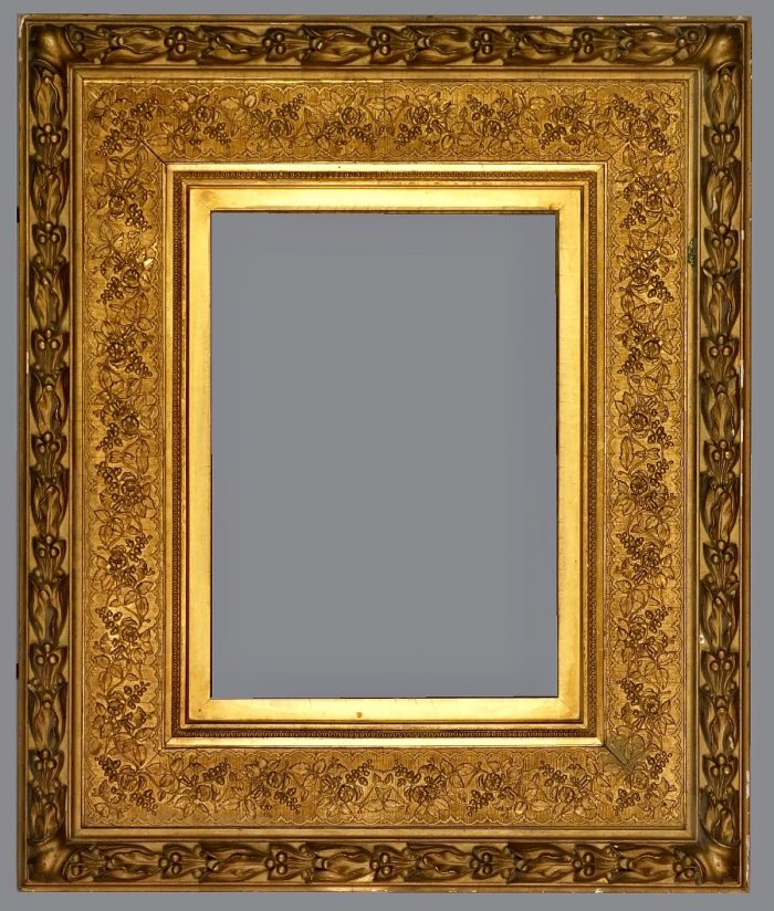 Late 19th C. American gold leaf, applied ornament frame