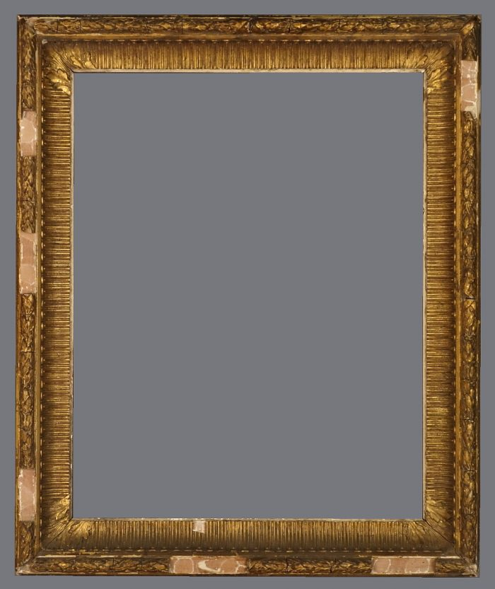 Late 19th C. American gold leaf and applied ornament cove frame.