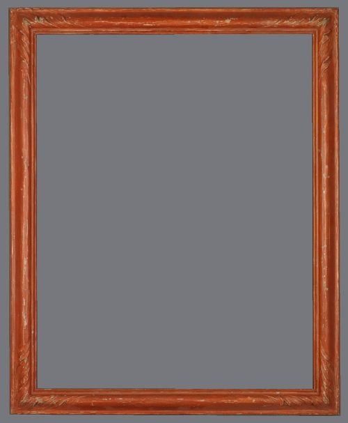 Early 20th C. American Impressionist carved reverse profile frame with red bole