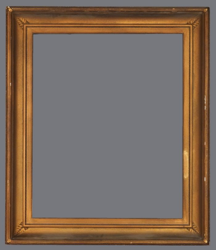 Late 19th C. American applied ornament cove frame with bronzed finish over original gilding.