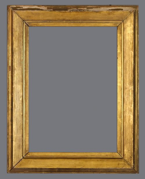 Early 19th C. American gold leaf frame with a beveled profile.