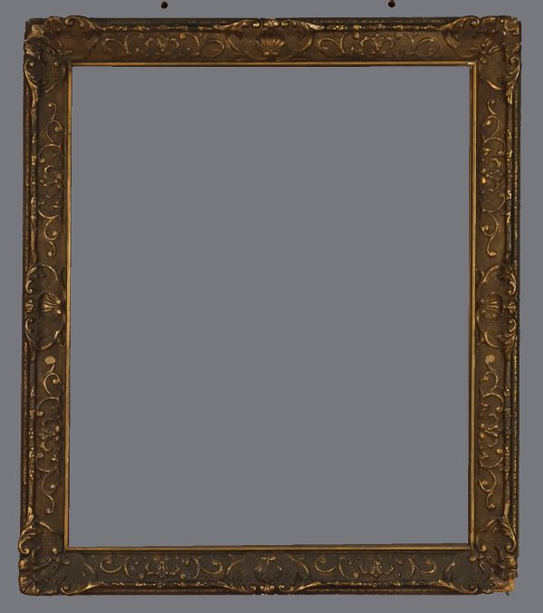 Early 20th C. American applied metal leaf and gilded frame in the Louis XIV style with darkened finish.
