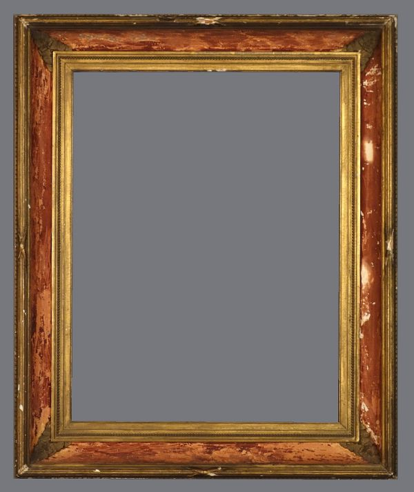 Late 19th C. American gold leaf and applied ornament frame with remnants of removed velvet in the cove.