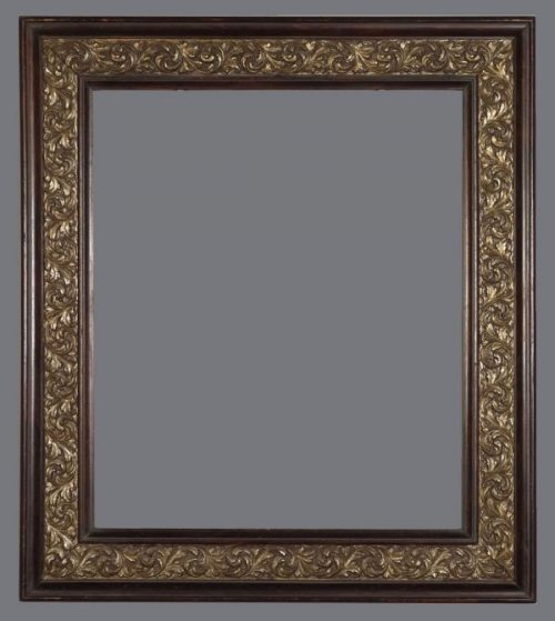 Late 19th C. American wood and applied ornament, silver leaf cassetta frame