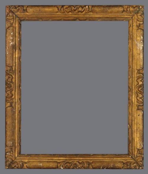 18th C. Italian provincial carved silver leaf frame.