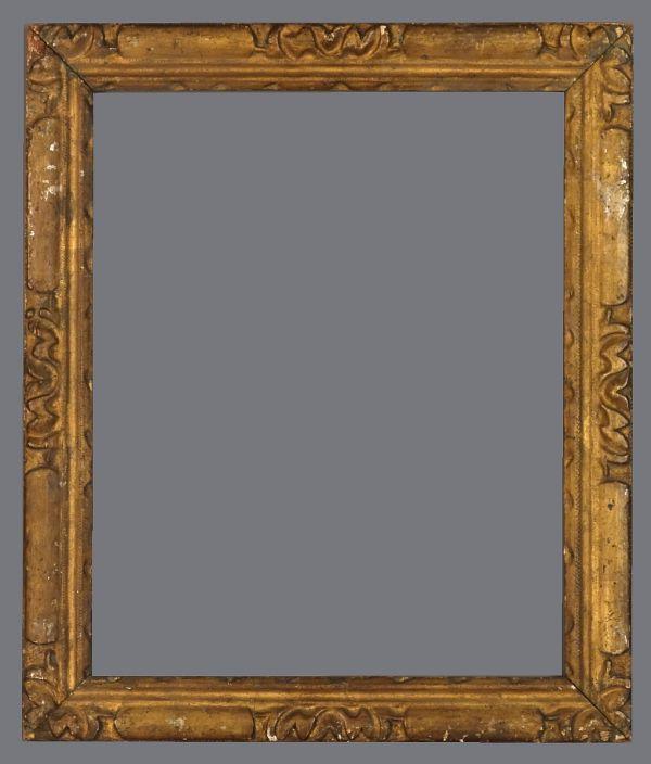 18th C. Italian provincial carved silver leaf frame.