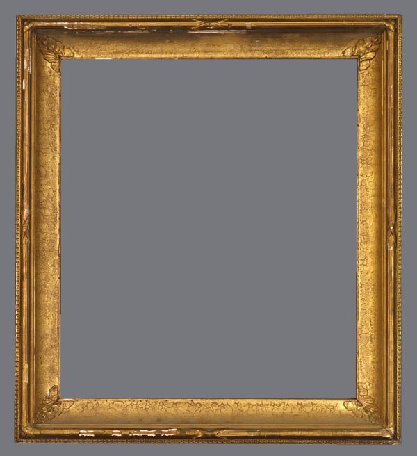 Mid 19th C. American gold leaf and applied ornament spotted cove frame