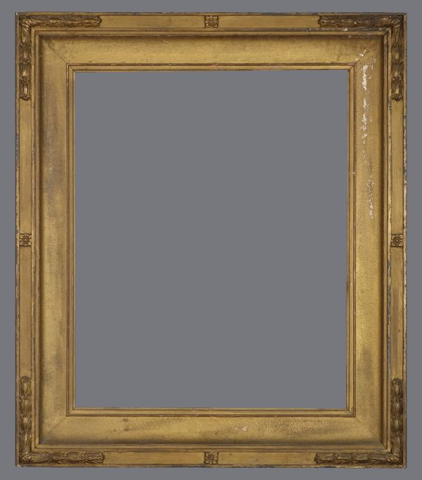 Early 20th C. American Arts and Crafts frame with applied ornament and bronzed finish.
