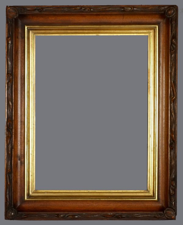 Mid 19th C. English carved walnut cove frame with stenciled pattern liner.