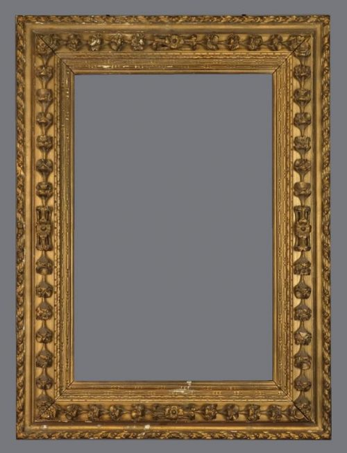 19th C. Italian carved, gold leaf reverse profile frame