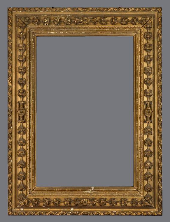 19th C. Italian carved, gold leaf reverse profile frame