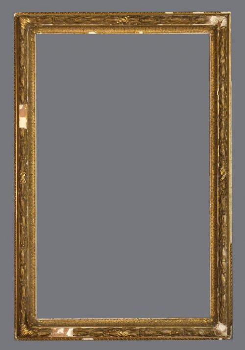 Late 19th C. American gold leaf cove frame with applied ornament.