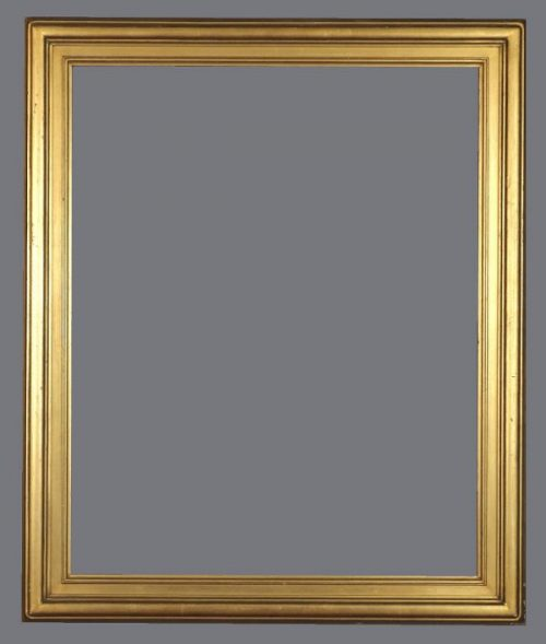 Early 20th C. American Arts & Crafts gold metal leaf frame.