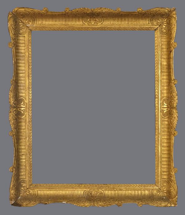 Mid 19th C. Italian gold leaf frame with carved and incised gesso,