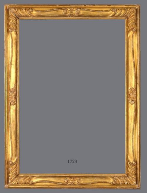 Early 20th C. European gold metal leaf, carved Louis XV style frame.