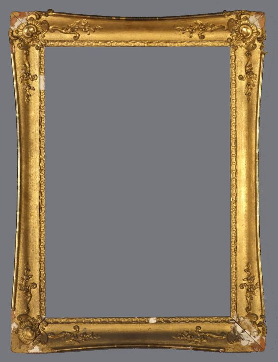 Early 19th C. American gold leaf and applied ornament frame with swept sides.