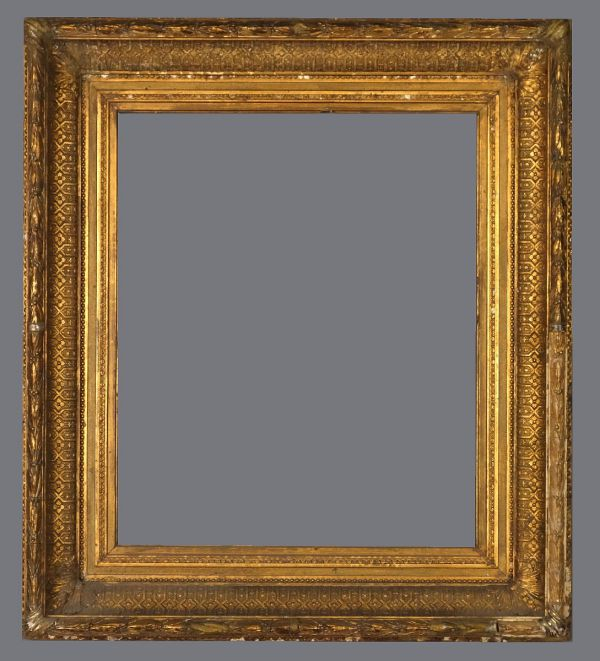 Late 19th C.American applied ornament, ogee cove frame, gold leaf with gold metal leaf over.