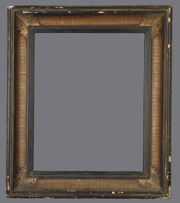 Mid to Late 19th C. European fluted cove frame with applied ornament.