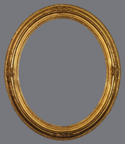 Late 19th C. American gold leaf,  reverse profile oval frame with applied ornament.
