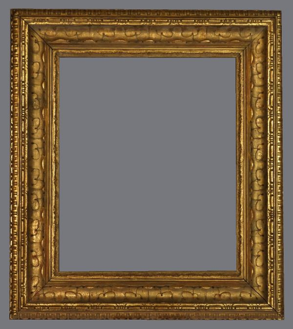 Late 19th  C. European  gilded cove frame with applied ornament large leaves in the cove.