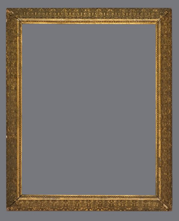 Late 19th C. American gold leaf, reverse profile, applied ornament drawing frame.