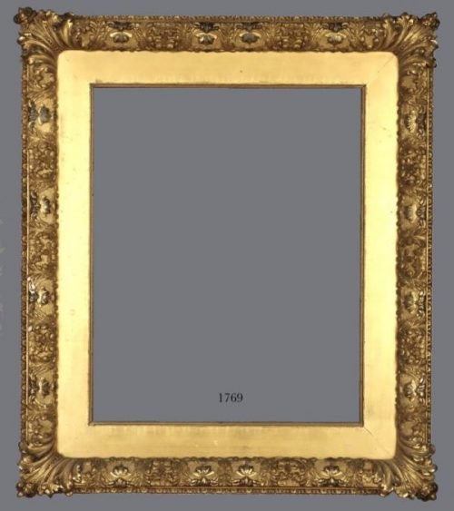 Late 19th C. gold leaf Barbizon frame with applied ornament