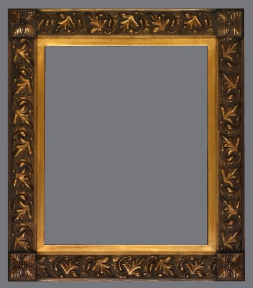 Late 19th C. American Aesthetic, gold metal leaf, applied ornament frame.