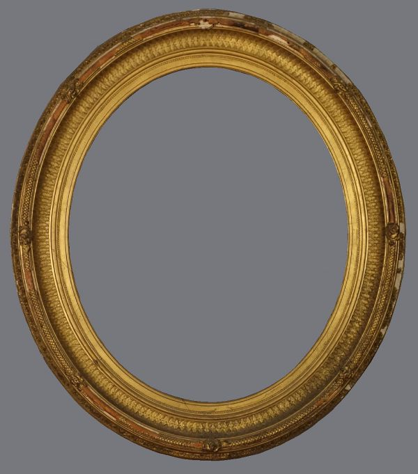 Mid 19th C. American, oval gold leaf, quilted cove frame with applied ornament.