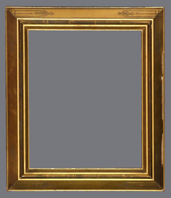 Late 19th C. American gold leaf, reverse profile Eastlake frame