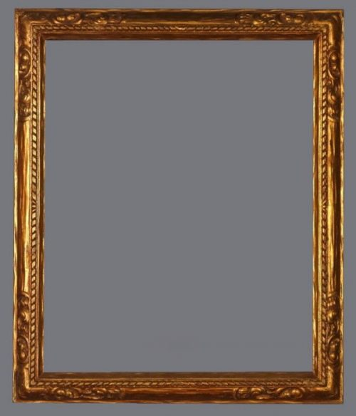 Early 20th C. American carved, reverse profile, gold metal leaf Arts & Crafts frame