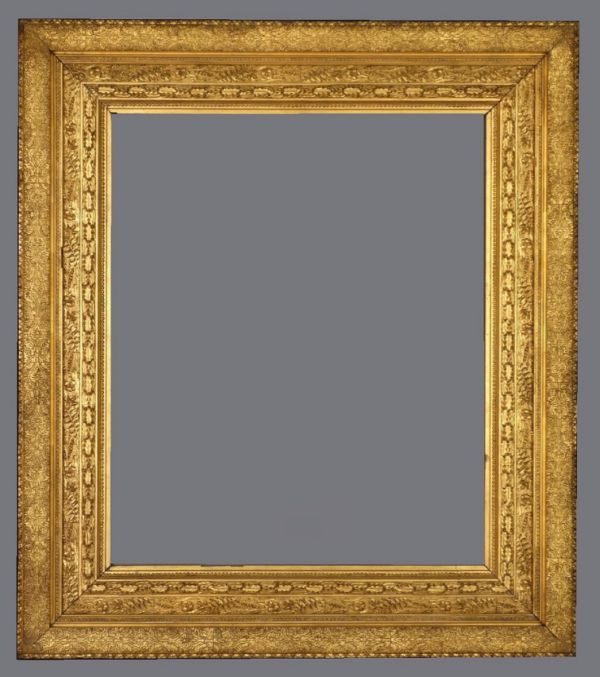 Late 19th C. American gold leaf frame with delicate applied leaf and flower motifs.