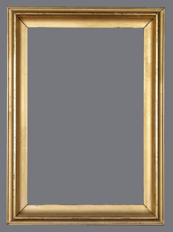 Late 19th C. American, silver leaf cove frame with a light golden finish