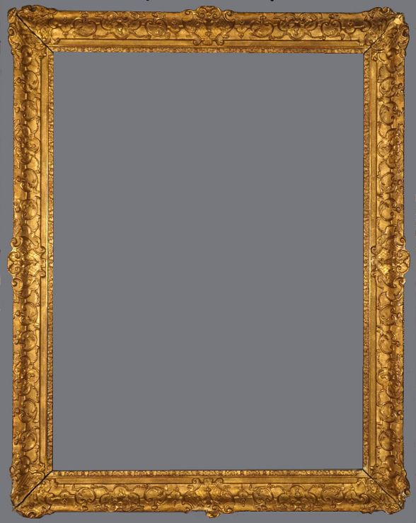 Late 19th Century, European,  gold leaf and applied ornament Louis XIV style frame.