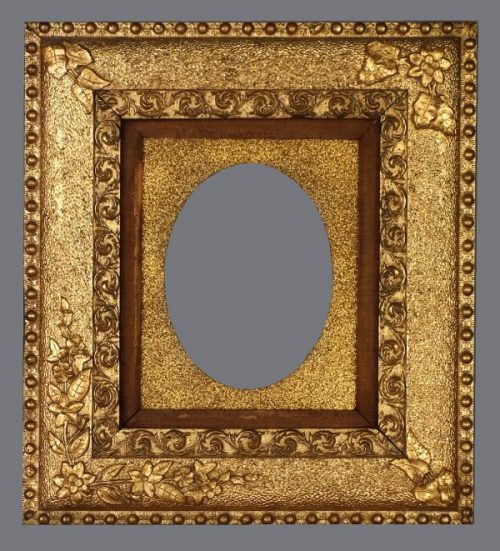Late 19th C. American Aesthetic reverse profile gold metal leaf and applied ornament frame.