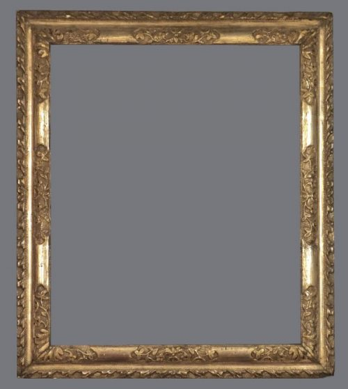 18th C. European silver leaf, carved, reverse profile frame