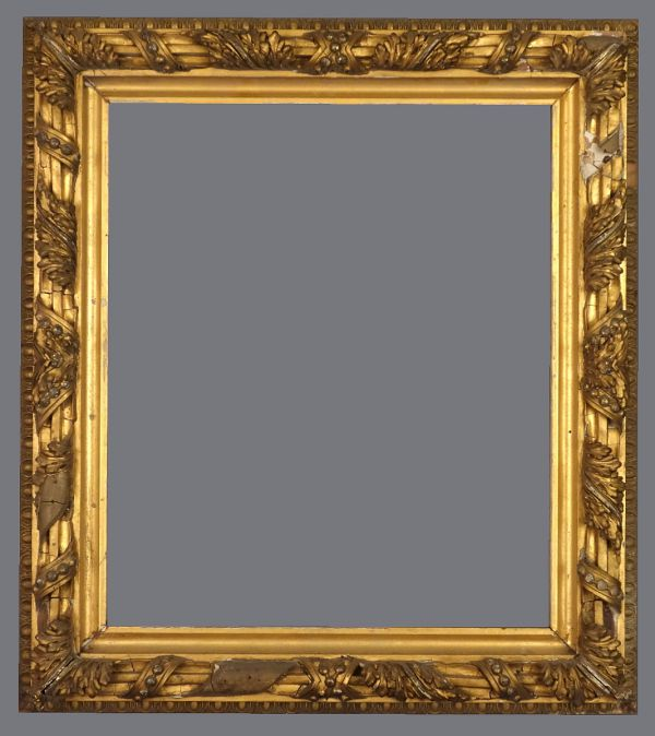 Late 19th C. American, gold leaf frame with applied ornament.