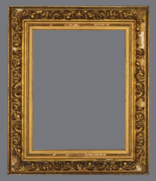 Late 19th C. American gold leaf  Barbizon frame with applied ornament