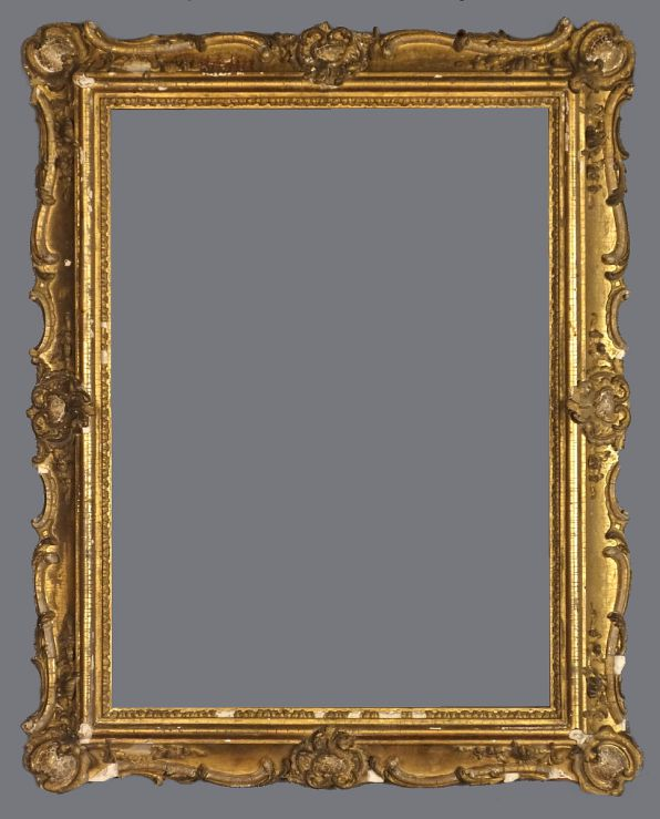 Early 19th C. American applied ornament, gold leaf, reverse profile frame in the Rococo style.