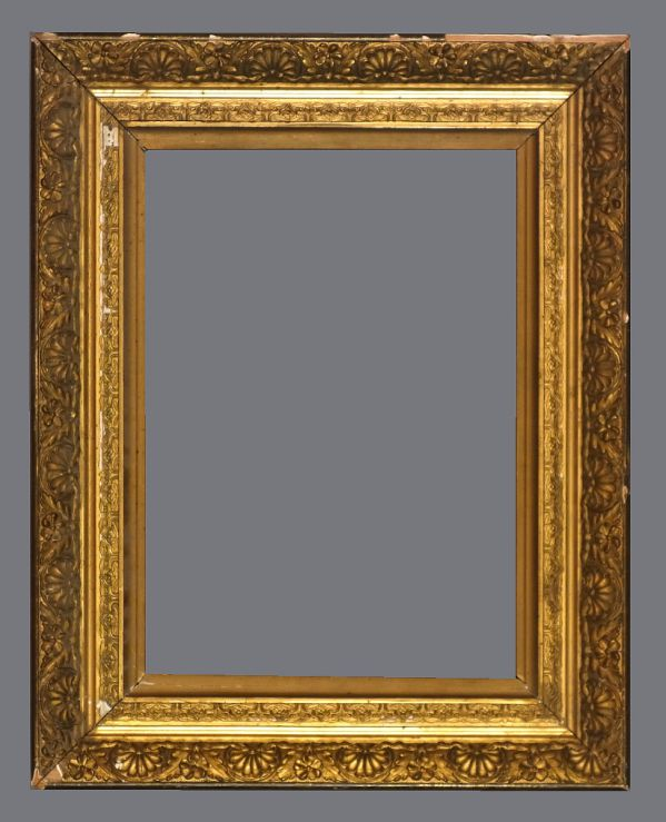 Late 19th C. American, gold leaf, applied ornament frame.