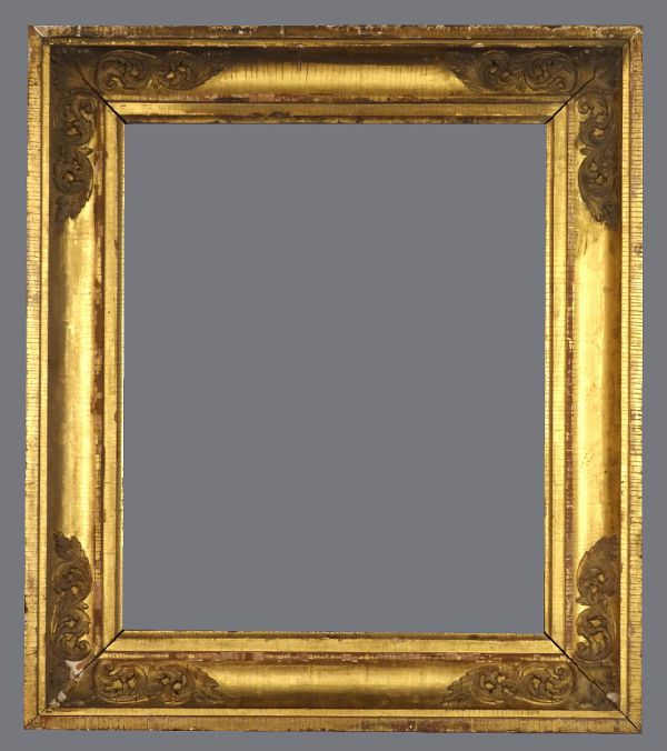 Early 19th C. French empire frame, gold leaf and applied ornament.
