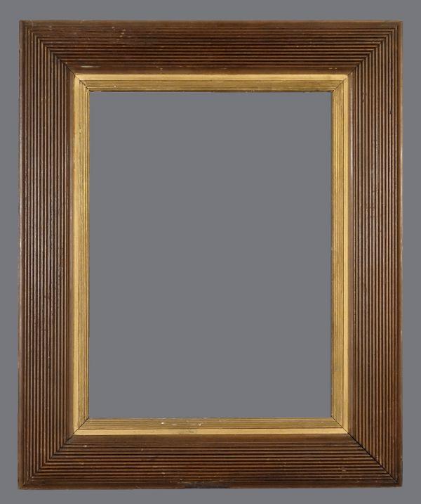 Early 20th C. American walnut reeded,  cushion frame
