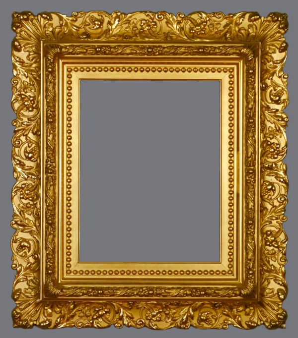 Late 19th C. American applied ornament, gold leaf, reverse profile frame.