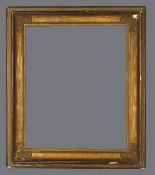 Late 19th C. American applied ornament, Roman gilded cove frame.