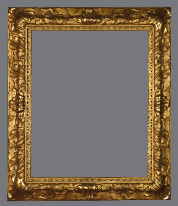 Late 19th C. gold leaf, reverse profile frame in the 17th C. Bolognese style with applied ornament